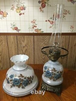 Vintage Hurricane Lamp Blue with Blue Floral Pattern 22 Tall Accurate Casting