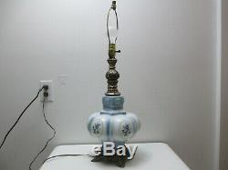 Vintage Table Lamp Accurate Casting White Glass Blue Floral Pattern 20 1/2 Tall