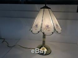 Vintage Touch Lamp Glass Panel Shade Blue Flowers Floral Pattern Frosted Retro