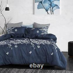 Wake In Cloud Navy Blue Comforter Set, Gray Floral and Tree Leaves Pattern Pri