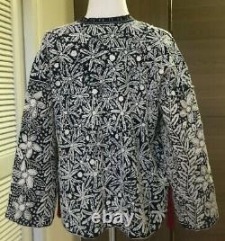 Women's Thai Blue Cotton Robe Long Sleeve Flowers Pattern Hand Embroidered 100%
