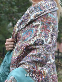 Wool Floral RUSSIAN PAVLOV POSAD SHAWL Magical Patterns 1290-3 Turquoise