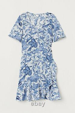 XX Patterned Crepe Dress Blue White Floral Tropical Wrap Frill Ruffle 12 8 40