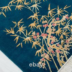 YILONG 6'x9' Bamboo Pattern Hand knotted Turquoise Art Deco Wool Rug Carpet