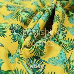 Yellow Teal Jungle All Floral Pattern Printed Velour Velvet Upholstery Fabrics