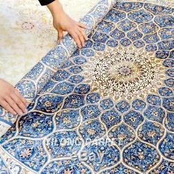 Yilong 4'x4' Medallion Handknotted Silk Carpet Square Dome Pattern Rug Z385A