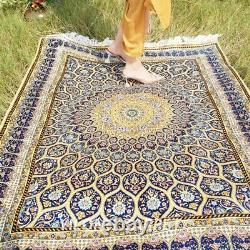Yilong 4'x6' Blue Hand Knotted Silk Area Rugs Dome Pattern Handmade Carpet T124