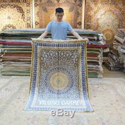 Yilong 4'x6' Silk Rugs Handmade Blue Dome Pattern Carpets Hand-knotted 124A