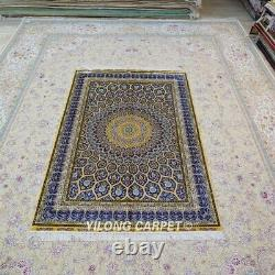 Yilong 4'x6' Silk Rugs Handmade Blue Dome Pattern Carpets Hand-knotted 475A