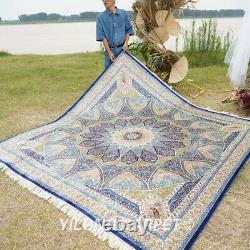Yilong 8'x8' Blue Square Handwoven Silk Rug Dome Pattern Luxury Carpet Z353A